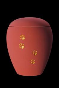 """Keramik samt rot """"Pfotenmotiv"""" 65-500-207 - 0,5 ltr. - 75,00 Euro 65-1500-207 - 1,5 ltr. - 80,00 Euro 65-2800-207 - 2,8 ltr. - 98,00 Euro"""